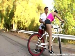 Beverly Hills is a slutty brunette whore who picks up a dude while bike riding
