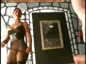 Mistress has a bunch of slaves that she runs through their paces