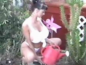 Summer Cummings Gardening & Fingering Her Pussy
