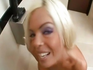 Platinum blonde loves giving head
