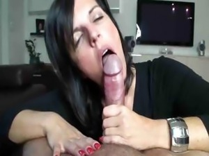 Brunette Babe Gives Sensual Bj In TV Fantasy Part B With Cumshot
