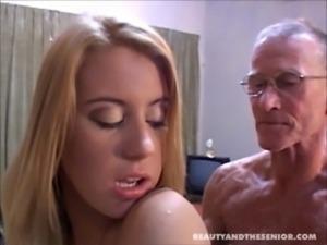 Cute blondie taking care of senior free