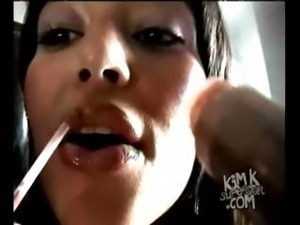 Brunette Kim Kardasian in one of her sex tapes getting drilled
