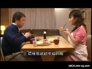 Asian girl is punished in the bathroom and then gives him a blowjob