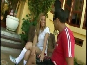Sexy blonde teen princess Gisele gets fucked publicly in front of her house