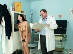 Busty Adriana tits and pussy gyno exam at kinky clinic