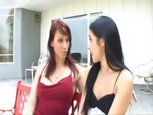 Redheaded mom teaches new stepdaughter the art of lesbian toy action