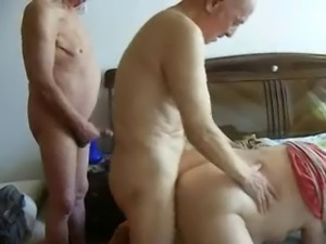 Two old men fucking pervert granny. Amateur older