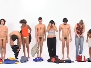 Art - 4 men and 4 women in a row changing clothes