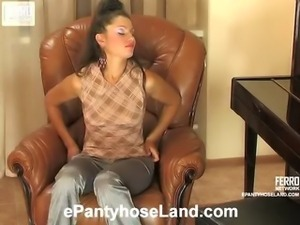 Tina videotaped while wearing pantyhose