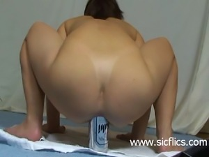 Extreme anal beer can fuck and prolapsing anus