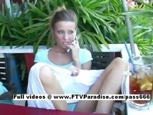 Stunning Carli adorable blonde girl public flashing tits and talking