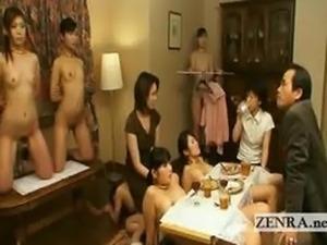 Bizarre Japanese nudist bondage dining room slaves