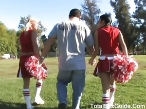 Kinky cheerleaders want a nasty threesome