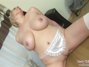 Busty maid Lilly Pink gets hot cleaning up so strips to show off her big tits...