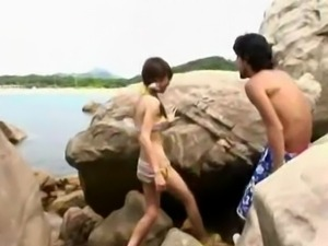 Skinny asian beach fuck