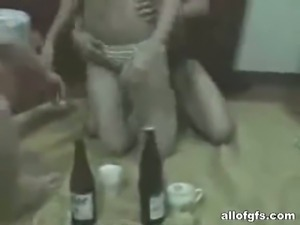 Naughty drunk amateur girlfriend bares all in hardcore threesome