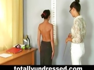 Humiliating nude job interview for Sasha