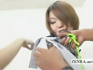 Subtitled bizarre Japan amateurs uniform cutting game