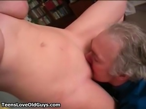 Old perverted man loves kissing touching