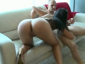 Girl with perfectly round ass fucking for money