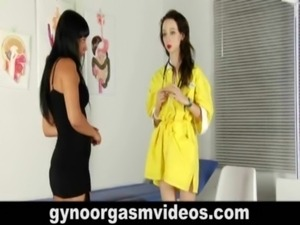 Lesbian gynecologist seduces her sexy brunette patient free