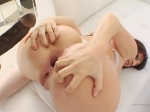 Young busty gets her perfect ass fucked by 2 big black cocks