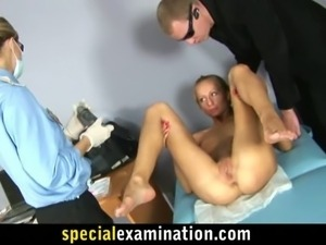 Skinny blonde girl opens wide for nasty gyno test