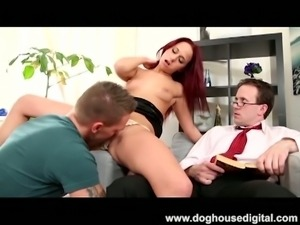 Sexy redhead cuckolds her husband with a bisexual