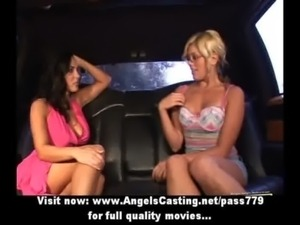 Brunette lesbian and cute hitchhiker kissing and licking and toying free