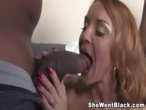 Janet Mason fucks two big black cocks while her cuckold husband watches