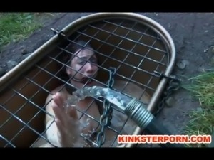 Outdoor BDSM Locked in Hole Slave free
