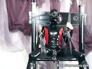 Nasty slut in latex cloth massage her part4