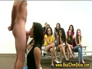 Hot brunette cfnm bitch gets on her knees to suck tiny cock free