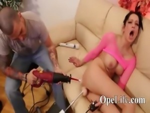 Hot darkhair fucks with dildo machines