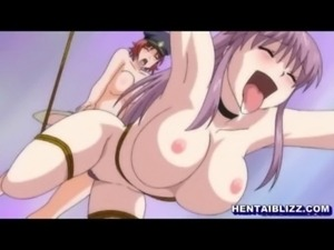 Roped hentai with bigtits gets whipped and threesome lesbian sex free