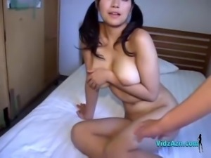 Busty Girl Fucked Riding On Guy On The Bed