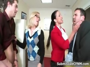 Two sexy and horny office girls attacked
