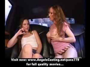 Redhead lesbian vamp and cute hitchhiker undressing and licking tits