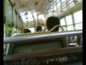 Thai student jack off in Bus.
