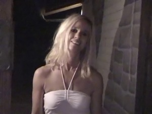 A hot and leggy blonde maid sucks her boss off and drinks his load