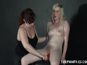 Bizarre lesbian exercises and femdom spanking of sexy blonde fetish pornstar...