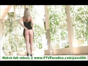 Carolyn lovely amateur blonde amateur walking naked outdoors flashing tits...