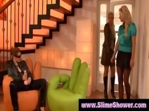 Lesbians have fun with huge dildo free