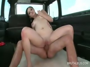Naked amateur slut rides cock in the sex bus