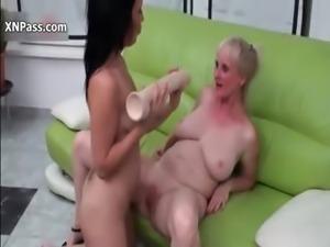 Horny sluts go crazy dildo fucking their