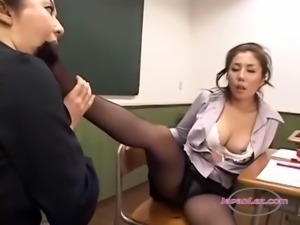 2 Teachers In Pantyhose Masturbating In Front Of Each Other Sucking Toes In...