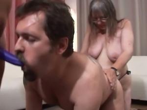Strap-on grannies dominate dude