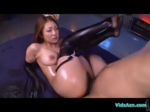 Asian Girl In Sexy Stockings Oil On Body Sucking Cocks Fucked By 2 Guys On...
