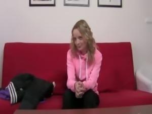 Hot princess on couch enjoying bang